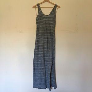 LOFT Grey/White Cross-back Maxi Dress